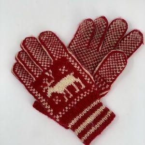 Reindeer Red & White Wool Gloves